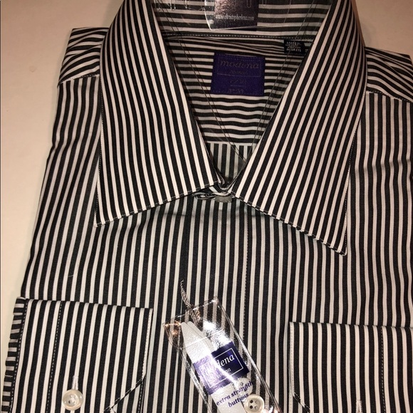Modena Other - Black and White Striped Dress Shirt
